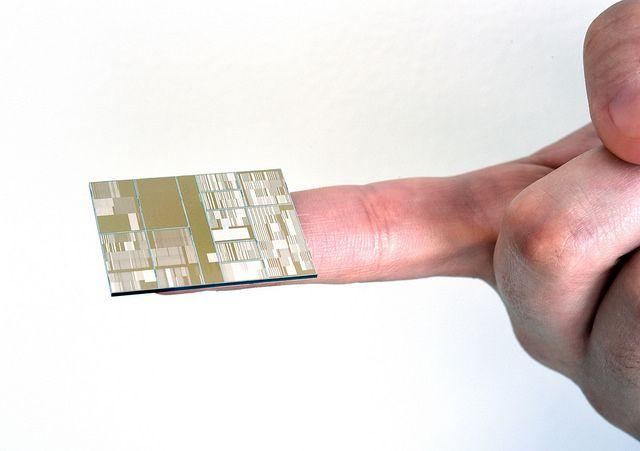 Close up of IBM 7nm node test chip produced at SUNY Poly CNSE in Albany, NY