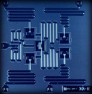 The layout of IBM's five superconducting quantum bit device