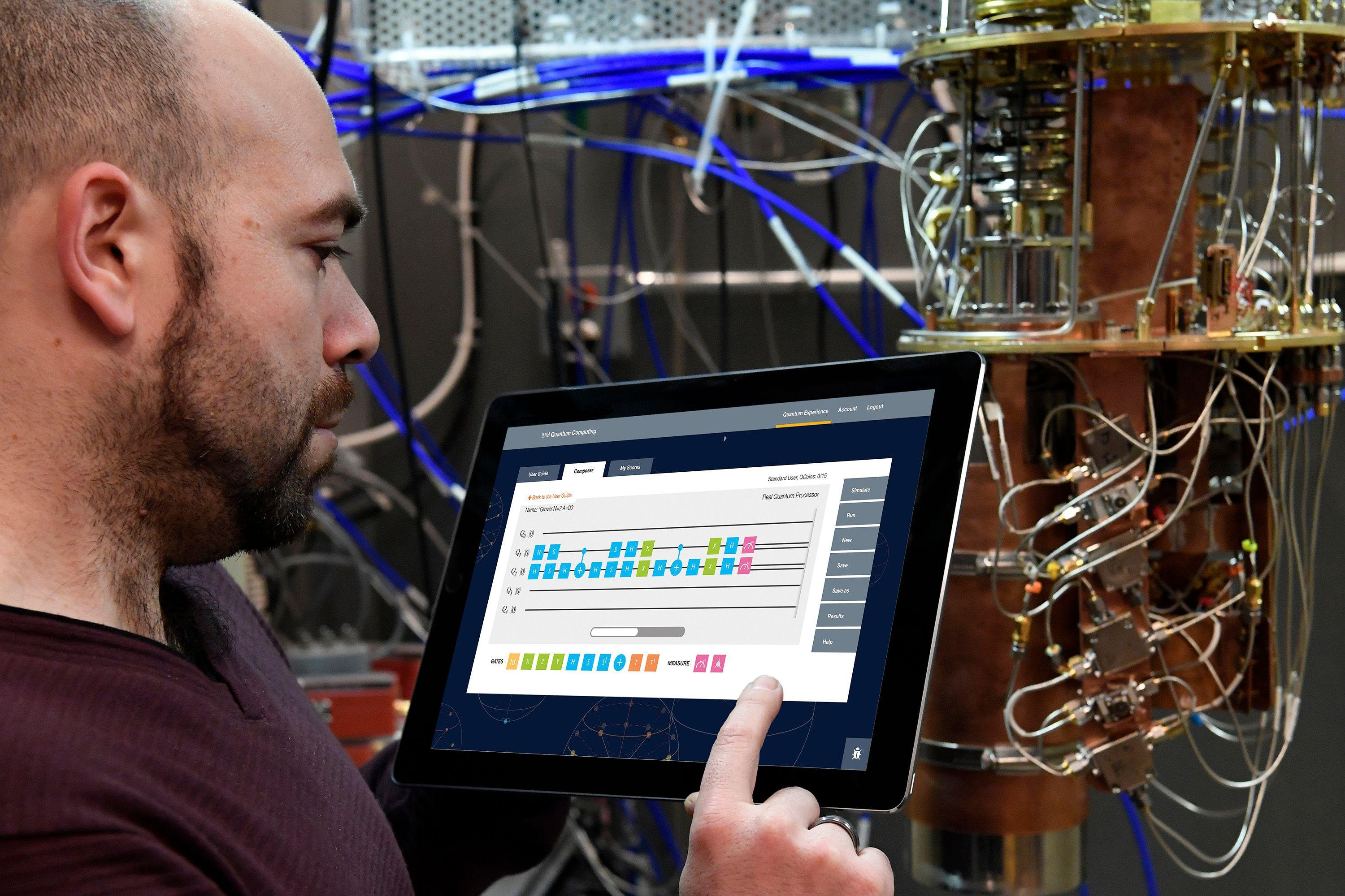 Research Scientist Antonio Córcoles uses the IBM Quantum Experience on a tablet