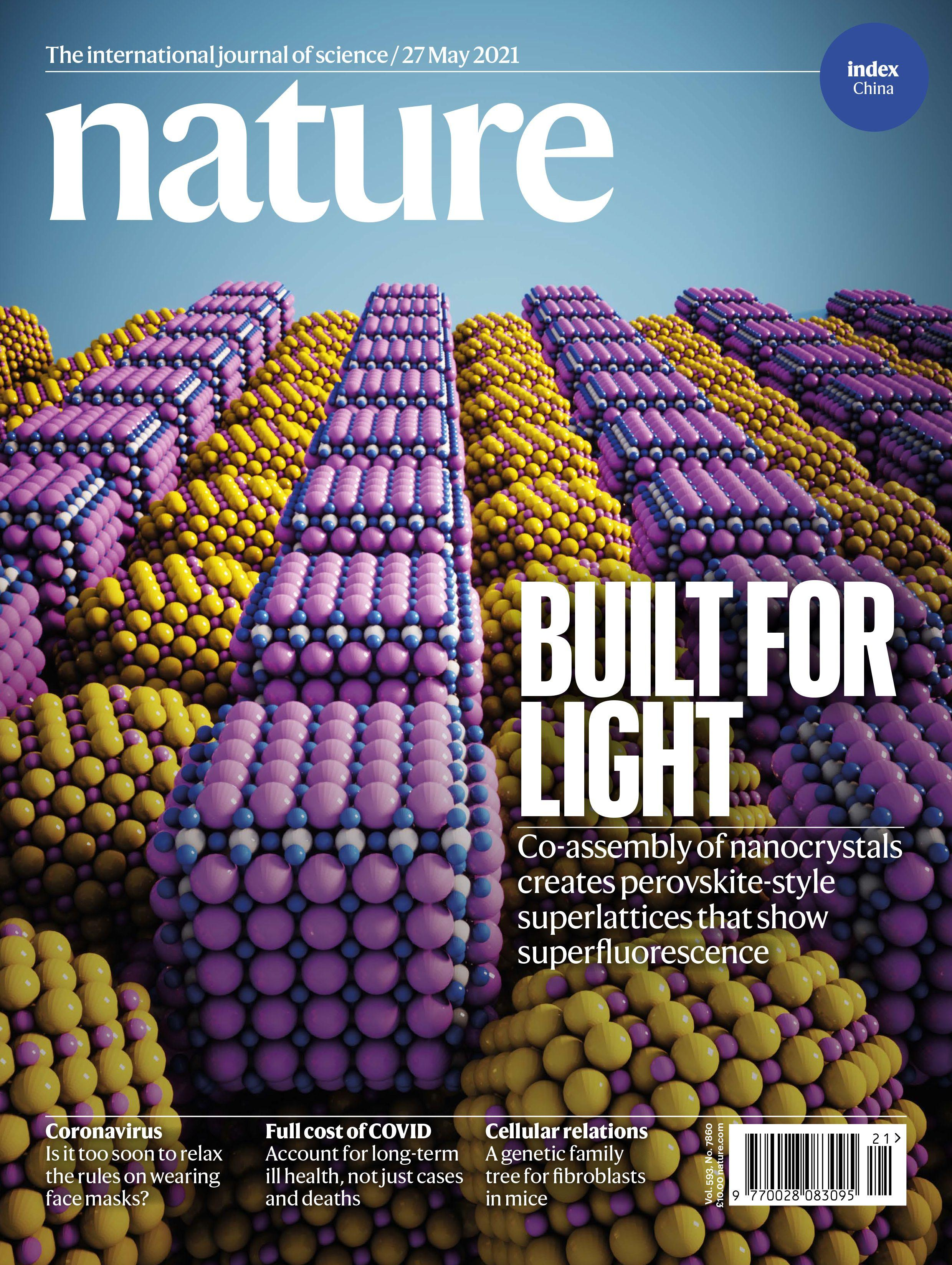 """May 27, 2021 issue cover story: """"Perovskite-type superlattices from lead-halide perovskite nanocubes"""" (Credit: Nature)"""