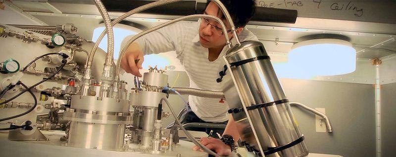 Dr. Jerry Chow preparing the dilution refrigerator for a quantum experiment