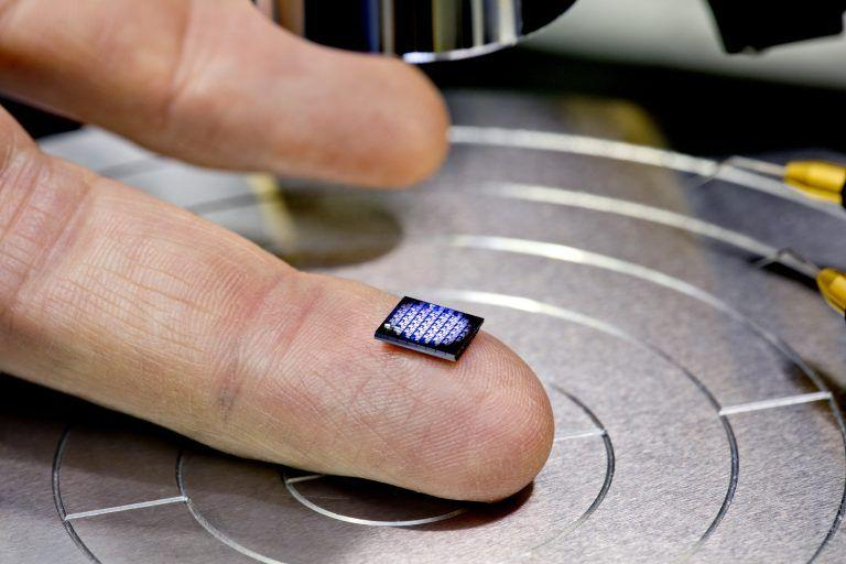 The world's smallest computer on the tip of a human finger.