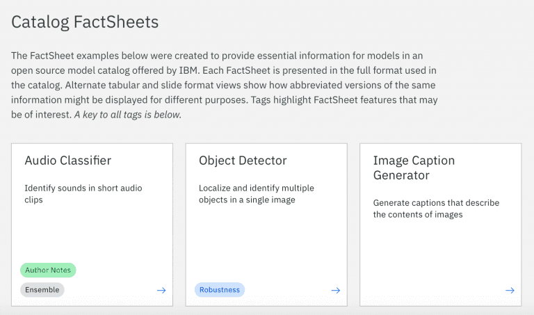 Screenshot of the AI Factsheets website with the title Catalog Factsheets