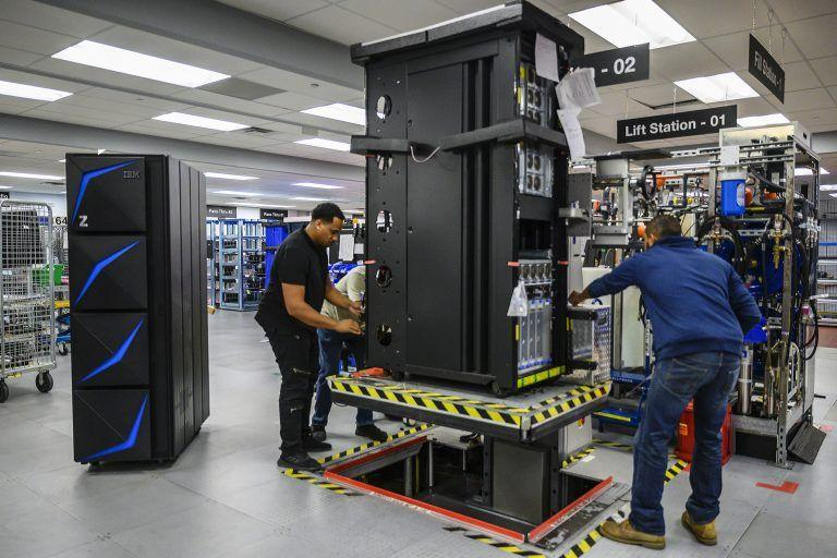 IBM engineers assembling the IBM z15, a new enterprise platform delivering the ability to manage the privacy of customer data.